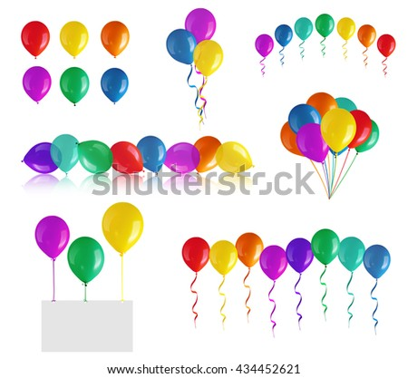 Set of children's party balloons isolated on white - stock photo