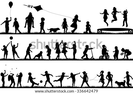Set of children silhouettes playing outdoor - stock photo