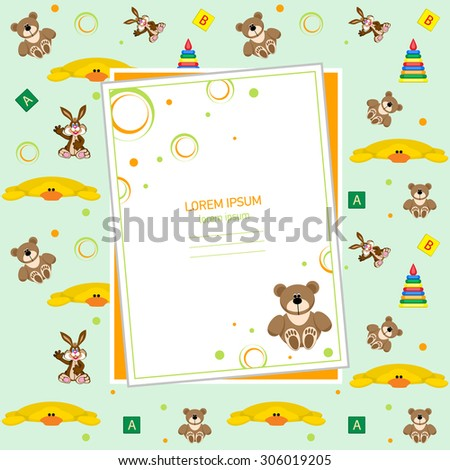 Set of childrens toys. Blank invitation, the price tag or the booklet of childrens products.