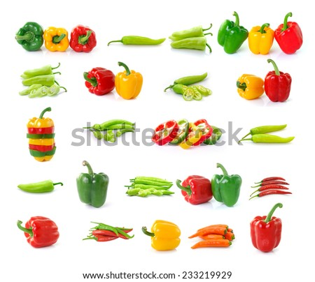 set of chilli  pepper isolated on white background