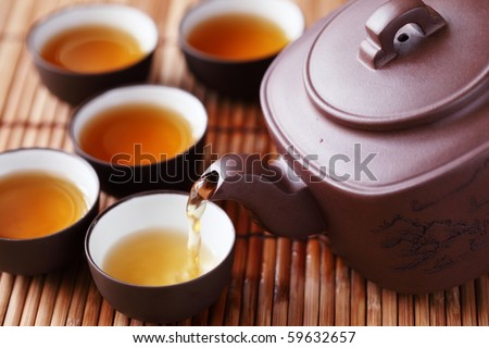 Set of China tea on bamboo mat,Closeup. - stock photo