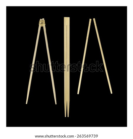Set of chinese bamboo and wood chopsticks on black background with white frame