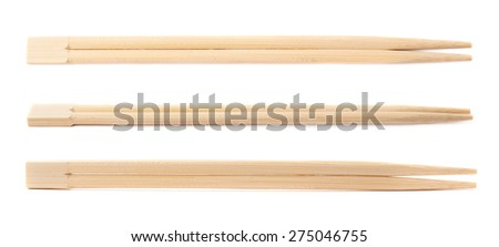Set of chinese wooden chopsticks sticks isolated over the white background, set of three different foreshortenings - stock photo