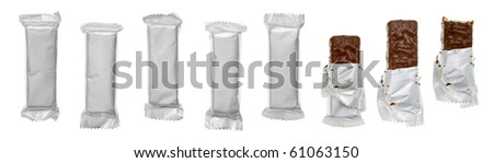 Set of chocolate or cereal bars on white background - stock photo