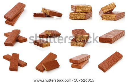Set of chocolate waffles on a white background. - stock photo