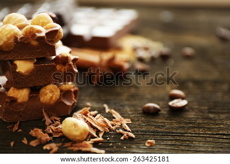 Set of chocolate with nuts, closeup - stock photo
