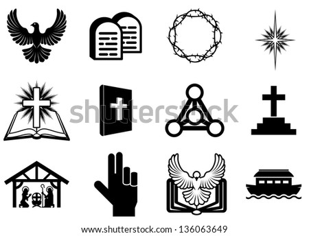 Set of Christian religious icons, signs and symbols - stock photo