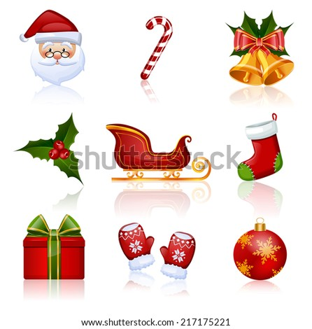 Set of Christmas and New Year icons. Collection of design elements. Raster illustration. - stock photo