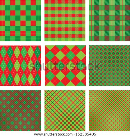 Set of Christmas and New Year plaid seamless patterns in red and green colors Raster version