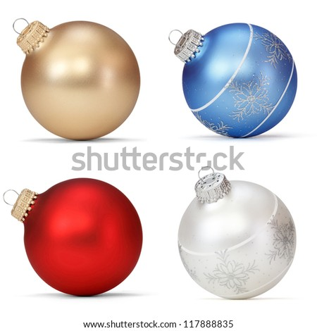 set of Christmas balls - stock photo