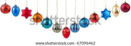 Set of Christmas balls isolated on white background - stock photo