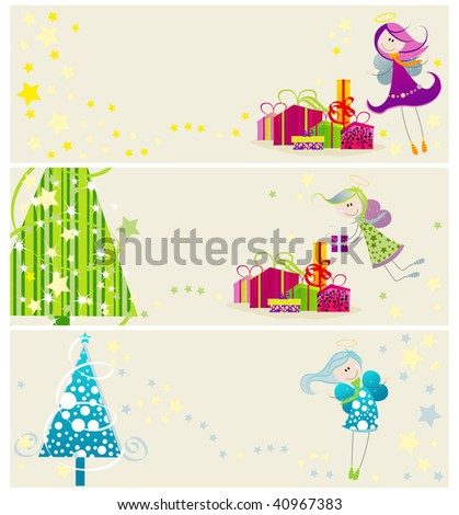 Set of Christmas banners with cute angels and Christmas trees - stock photo