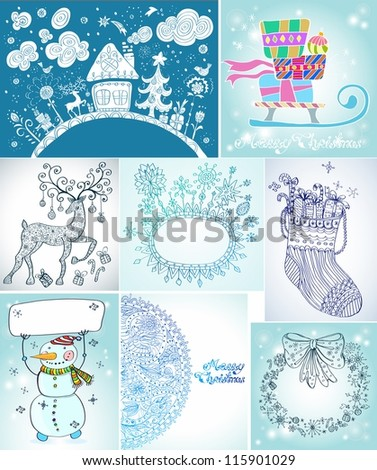 Set of Christmas Cards for your design - stock photo