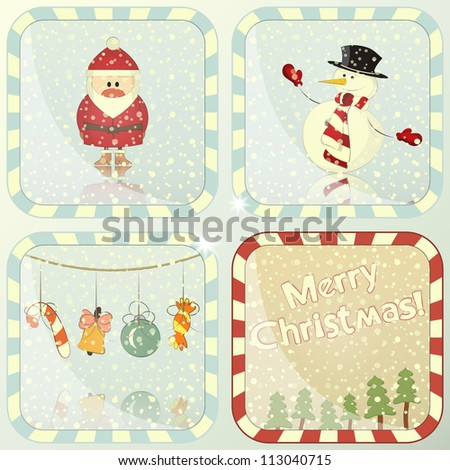 set of Christmas cards with Santa Claus and Snowman - JPEG version - stock photo