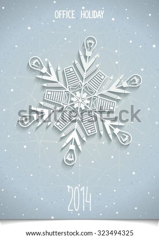 Set of Christmas decorations for your office. Snowflakes Making of office supplies. Design elements for corporate party in office - stock photo