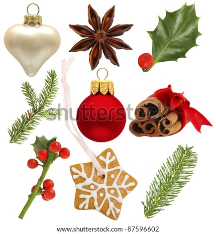 Set of Christmas design elements - holly, red ball, green  fir; star anise, snowflake cookies isolated on white background - stock photo