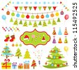 Set of Christmas elements. Raster version - stock photo