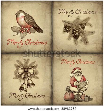 Set of christmas greeting card - stock photo