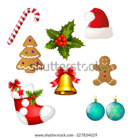 Set of Christmas icons - Clipart collection  - stock photo