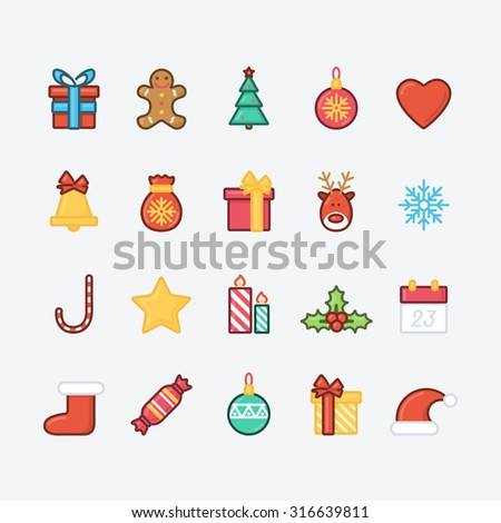 Set of Christmas Icons. Trendy Thin Line Design with Flat Elements. Raster Copy.