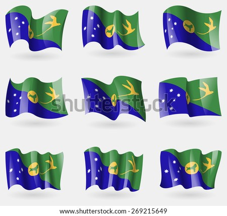 Set of Christmas Island flags in the air.  illustration - stock photo