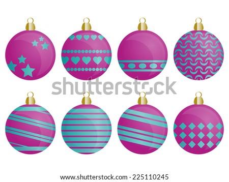 Set of Christmas ornaments for Christmas tree in blue and pink color - stock photo