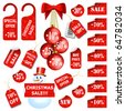 Set of christmas price tags and labels - stock photo