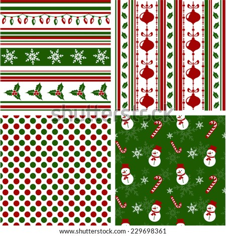 Set of christmas seamless patterns in green, red and white colors. Raster copy. - stock photo