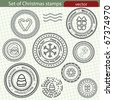 Set of Christmas stamps. - stock vector