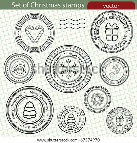 Set of Christmas stamps. - stock photo