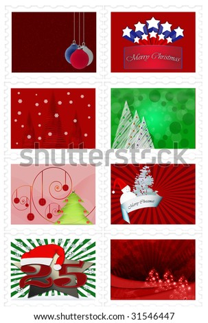 Set of Christmas stamps over white background - stock photo