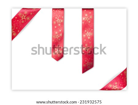 Set of Christmas starred red ribbons including corners and bookmarks on isolated blank white sheet