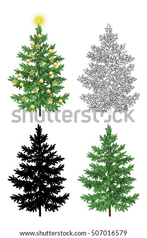 Set of Christmas Trees, with Holiday Decorations, Gold Stars and Balls, Green Naturalistic and Black Outlines Contours and Silhouettes Isolated On White