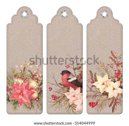 Set of Christmas vintage tags or bookmarks with watercolor compositions - stock photo