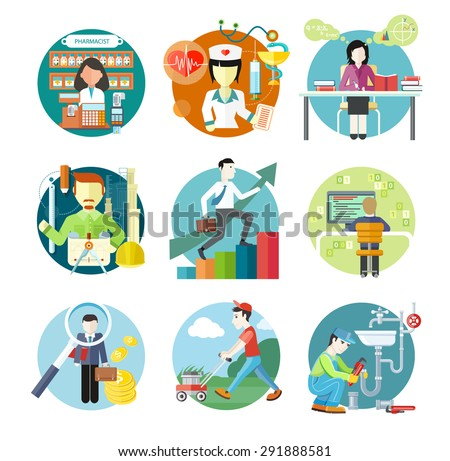 Set of circle colorful icons with different professions in trendy flat style. Teacher, doctor, architect, pharmatist, investor.  Template elements for web and mobile applications. Raster version - stock photo