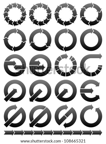 Set of circular arrows icons logos. - stock photo