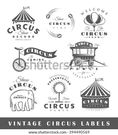 Set of circus labels. Elements for design on the circus theme. Collection of circus symbols: tent, juggler, animals. Modern labels of circus. Emblems and logos of circus. Illustration  - stock photo