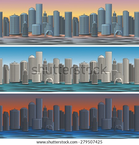 Set of city skylines in morning, afternoon and evening backgrounds seamless. Twilight and business district. - stock photo
