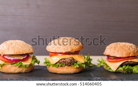 Set of classic burger made from beef and fresh vegetables