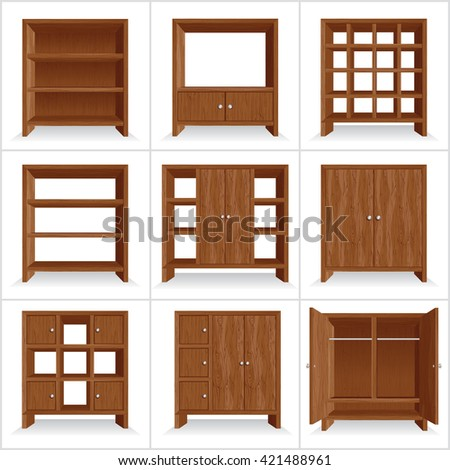 Set of Classic Wooden Furniture. 3D Wardrobe Collection - stock photo