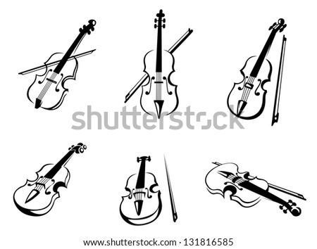 Set of classical musical violins instruments in silhouette style. Vector version also available in gallery - stock photo