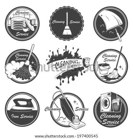 Set of cleaning service emblems, labels and designed elements. Also can be used as logos for your company or single project. All elements are 100% editable. - stock photo