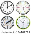 Set of 4 clocks isolated on white - stock photo