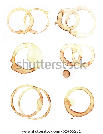 set of close up of coffee cup marks on white background