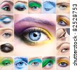 Set of close-up pictures women eye make-up - stock photo