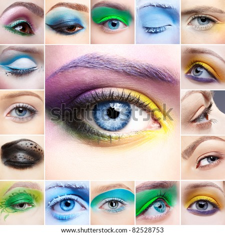 Set of close-up pictures women eye make-up