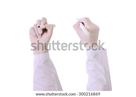 Set of Closeup Doctor hand with glove holding pen  marker  writing isolated on white - stock photo