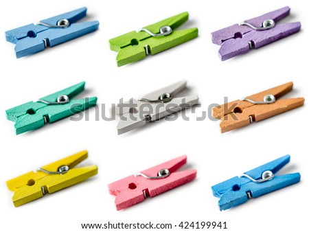set of clothespins isolated on a white background - stock photo