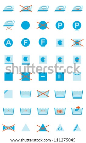 Set Of Clothing Care Symbols - stock photo