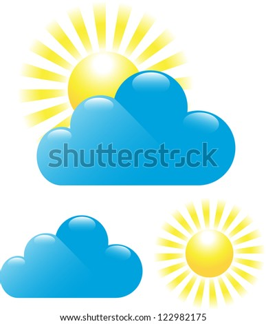 Set of cloud and sun isolated on white background - stock photo
